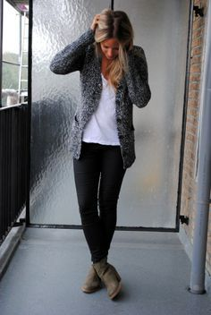 Salt & pepper cardigan. white shirt, black pants, taupe boots