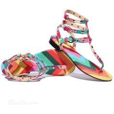 c3e11e8866a Fashion Rainbow Flat Thong Sandal ❤ liked on Polyvore Flat Sandals