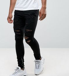 Granted Super Skinny Jeans In Black With Distressing And Zip Ankle Klick to see the Price #men#fashion#male#style#menfashion#menwear#menstyle#clothes #boots #man #ad