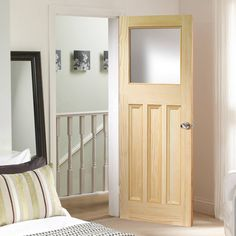 VINE DX VERTICAL GRAIN PINE DOOR WITH OBSCURE GLASS #directdoor #doorcentre #pinedoor