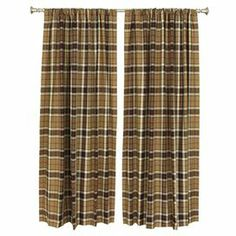 """Cotton curtain with a tartan motif. Made in the USA.   Product: Set of 2 window panelsConstruction Material: CottonColor: TartanFeatures:  2"""" Rod pocket3"""" Hem at bottom  Cleaning and Care: Spot clean"""