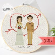 This is a cross stitch pattern which I gladly can make to order from your photo. Looking for an interesting gift for your wedding anniversary? Keep the moment or your best memories with such little personalized cross stitch portrait! Funny Cross Stitch Patterns, Cross Stitch Kits, Cross Stitch Designs, Learn Embroidery, Cross Stitch Embroidery, Embroidery Patterns, Wedding Cross Stitch, Custom Wedding Gifts, Personalized Wedding