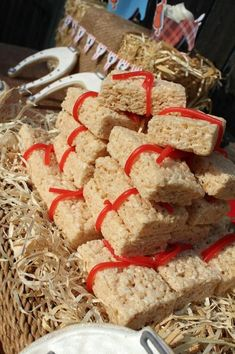 Bales of hay Rice Krispie Treats. Wrap in clear and tie bow around to match big real ones using as props.