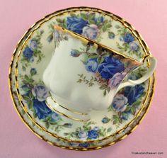 Royal Albert Moonlight Rose vintage teacup trio