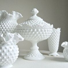 So pretty!  Hobnail Milk Glass Footed Candy Dish by Fenton White Covered Dish Scalloped Rim