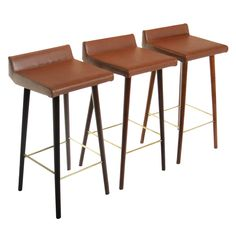 Set of Three Wood, Leather and Brass Bar Stools by Cimo from Brazil | From a unique collection of antique and modern stools at https://www.1stdibs.com/furniture/seating/stools/