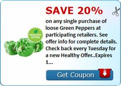 Coupon ~ Save 20% when you buy green peppers