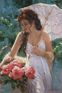Richard Johnson: Sunshine and Lace - Hand Embellished Giclee on Canvas - 14 x 9  [@Sarah Syers Budish ~ doesn't this remind you of our SaraV, with her long curls] ;)