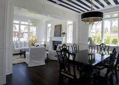 dining room : striped ceiling : P2 Design Inc.