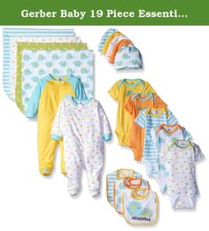 Gerber Baby 19 Piece Essentials Gift Set, Elephant, New Born. Gerber 19-piece newborn essentials gift set includes comfy clothing perfect for your new baby. Clothes are made of 100 percent cotton for softness and comfort next to baby's tender skin, bibs are made of an absorbent 2-ply 80 percent polyester/20 percent cotton blend. Mix and match the different pieces in the set to create multiple looks. Included in the Gerber essentials set are 5 onesies brand bodysuits, 2 zip-front sleep 'n...