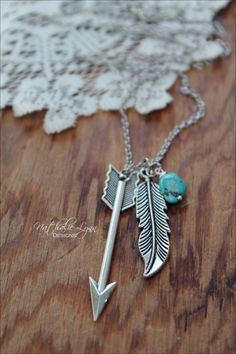 Feather and Arrow Necklace, Feather Necklace, Arrow Necklace, Turquoise…