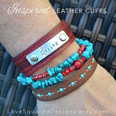 daring leather cuff bracelet, daring greatly, Metal stamped bracelet, Inspired leather cuffs, Love Squared Designs on Etsy, $30.00