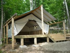 Wall tent on a deck