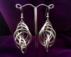 Chandelier Chainmaille Spiral Earrings Aluminum Spiral