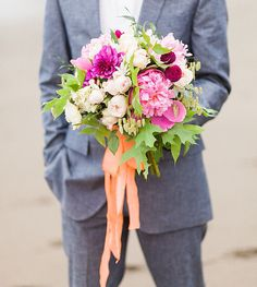 romantic pink bouquet featuring roses, peonies and dahlias by Flora Organica Designs