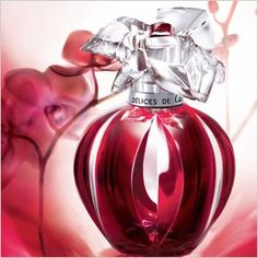 """""""Delices de Cartier"""" by Cartier. This supremely feminine fragrance is a timeless blend of distinctive fruits like iced cherry and zesty bergamot blended with the spice of pink pepper and feminine floral notes like violet, jasmine, and freesia, finished with warm amber, musk, and sandalwood."""