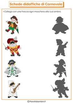 Schede Didattiche di Carnevale per la Scuola dell'Infanzia | PianetaBambini.it Halloween Worksheets, Worksheets For Kids, Educational Activities, Cute Drawings, Kindergarten, Carnival, Techno, Costumes, School