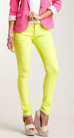 Lime skinny jeans