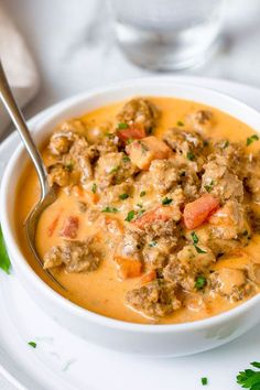 Sausage Parmesan Cream Cheese Soup Sausage Parmesan Cream Cheese Soup – We guarantee you'll enjoy every spoonful of our sausage parmesan cream cheese soup. Diced Tomato, spicy sausage all in a savory cream cheese base. Low Carb Recipes, Diet Recipes, Cooking Recipes, Healthy Recipes, Low Carb Soups, Cooking Fish, Healthy Soups, Sausage Soup, Desert Recipes