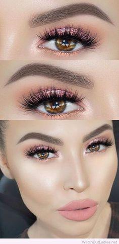 Light pink glitter eye makeup for brown eyes