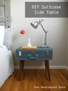 Make table from an old suitcase