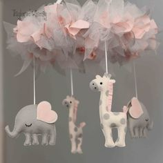 Elephant Mobile Giraffe Mobile Custom Mobile by TayloredWhimsy Sheep Mobile, Elephant Mobile, Welcome Pictures, Baby Couture, Secret Rooms, Gift Packaging, Balloons, Air Balloon, Craft Stores