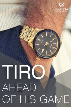 Hand assembled in Switzerland, the men's watches of the Tiro series are fashionable and striking. This particular gold watch black face design with a golden mesh bracelet is the perfect choice when you want Swiss precision and Jowissa signature style. With a 45mm case, black dial with a black and gold bezel, this gent's watch looks the part. These stylish timepieces are truly eye-catching. The colour and material combinations are distinctively masculine in style. Great Gifts For Men, Mesh Bracelet, Face Design, Signature Style, Gold Watch, Switzerland, Watches For Men, Colour, Mens Fashion