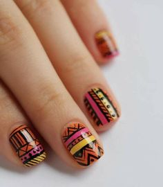 Bright Aztec nails to bring a pop of colour to your outfit. Love Nails, How To Do Nails, Pretty Nails, Fun Nails, Shiny Nails, Aztec Nail Art, Tribal Nails, Nail Art Designs 2016, Uñas Fashion