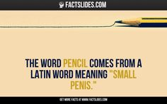 """121 facts about funny stuff: The word pencil comes from a Latin word meaning """"small penis."""""""