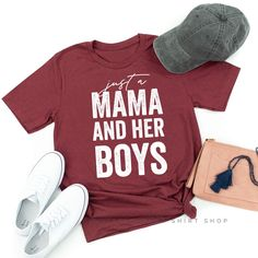 Just a Mama & Her Boys - Boymom Shirt - Ideas of Boymom Shirt - Comfy casual style for little mamas their babes.littlemamashi Little Mama Shirt Shop Mom Of Boys Shirt, Mama Shirt, Boys Shirts, Funny Shirts, Family Shirts, Diy Shirt, Shirt Shop, Vinyl Shirts, Tee Shirts