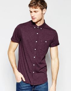 ASOS+Jersey+Shirt+In+Burgundy+With+Short+Sleeves+In+Regular+Fit