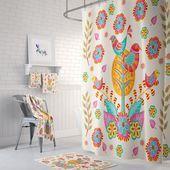 Hubscher Vogel Duschvorhang Bunter Volkskunst Badezimmer Dekor In