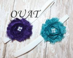 2 Pc Shabby Flower Headbands in Teal and Purple by OnceUponATimeAR, $6.95