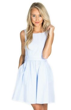 Lauren James Co. - The Emerson Seersucker Dress  Color - lt. blue Size - Small $125 http://www.laurenjames.com/collections/dresses/products/emerson-seersucker-dress?variant=1140295592