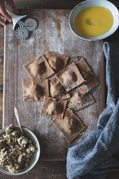 The Bojon Gourmet: Chestnut Flour Ravioli with Chèvre + Artichoke in Parmesan Pea Broth {gluten-free}