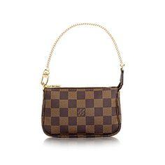Mini Pochette Women s Luxury Damier Ebène Canvas Bag   LOUIS VUITTON Louis  Vuitton Mini Pochette, 6f3dbe392f5