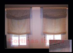 """2 Estores  """"Paqueto"""" Noche y Día en visillos de Poli/lino y tejido rustico algodón (El superior). Los estores son una solución ideal para ventanas, dan claridad, matizan la luz y decoran; Elegantes y para cuartos de reducidas dimensiones son ideales. En cortinas Ibáñez disponemos de miles de tejidos que se pueden adaptar a sus necesidades, somos especialistas en Estores, japoneses, Goteras, Hondas, Bandos, Galerías, Etc. y podemos adaptarla a cualquier situación. Roman Shades, Poli, Home Decor, Curtains, Windows, Net Curtains, Quartos, Night, Tejidos"""