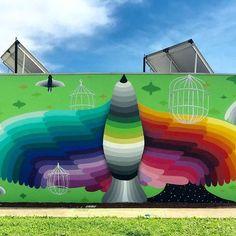 Rainbow Thief Mural art by Okuda San Miguel.  cutpastestudio  art artist artwork creativity entertainment illustration beautiful creativity drawings muralart street art graffiti art