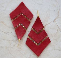 Red Leather Beaded Earrings. Art Deco inspired. Free shipping worldwide. $32.00, via Etsy.