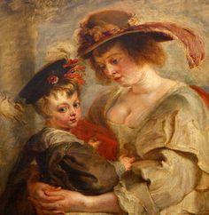 Peter Paul Rubens (1577-1640), Hélène Fourment et deux de ses enfants (ca 1635)  Helena Fourment with her Children, oil on wood, detail
