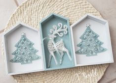 Cute Christmas decor piece using wood houses and ornaments from Dollar Tree Dollar Tree Decor, Dollar Tree Crafts, Christmas Projects, Holiday Crafts, Dollar Tree Finds, Holiday Ornaments, Dollar Tree Christmas, Christmas Crafts, Blue Christmas
