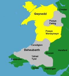 Wales c. 1217. Yellow: areas directly ruled by Llywelyn; Grey: areas ruled by Llywelyn's client princes; Green: Anglo-Norman lordships.