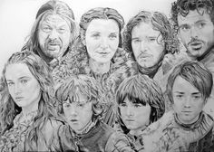 Famille Stark Game of Thrones by Portrait Lc https://www.facebook.com/PortraitLc #art #drawing #Graphit #portrait #black #white