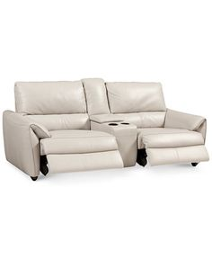 Hansin 3-Piece Leather Sectional with 2 Power Motion Recliners & Center Console