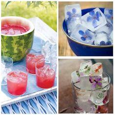 Ideas refrescantes para una fiesta en verano, cubitos de hielo con flores, o un granizado de frutas.