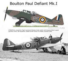 Defiant Mk.I L7006 PS - X - Pilota Leutnant Nicolas Cooke, 264°Squadron, 1940