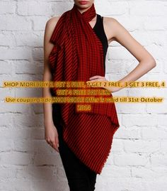 Red and Black#Reversible #Woolen #Shawl  by #Vedanta
