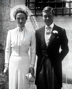 """Almost there, the #2 most iconic wedding dress ever, Wallis Simpson's famous ""Wallis blue"" Mainboucher dress (the blue has faded because of dye instability) was sublimely chic, and sublimely proper"": Reference at link"
