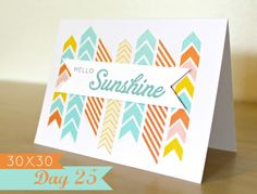Hello Sunshine chevron washi tape card