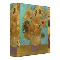 Vase with 12 Sunflowers by Vincent Van Gogh 3 Ring Binders